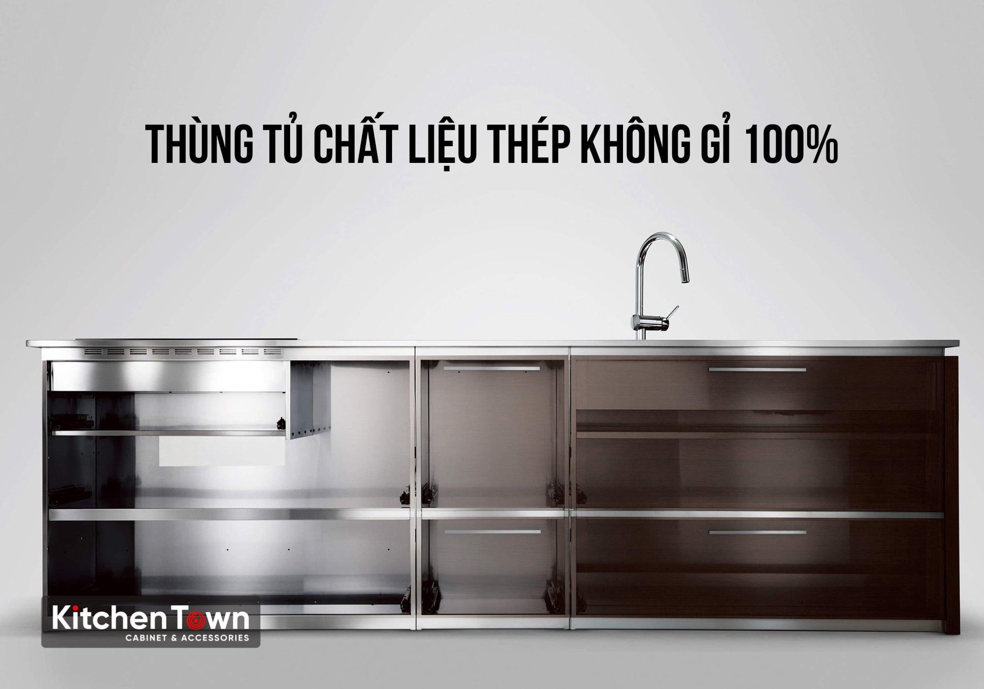 Thùng tủ bếp bằng thép không gỉ 100%